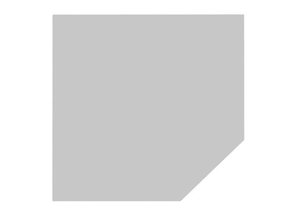 Verkettungsplatte Trapez 120 cm mit Stützfuß in Silber