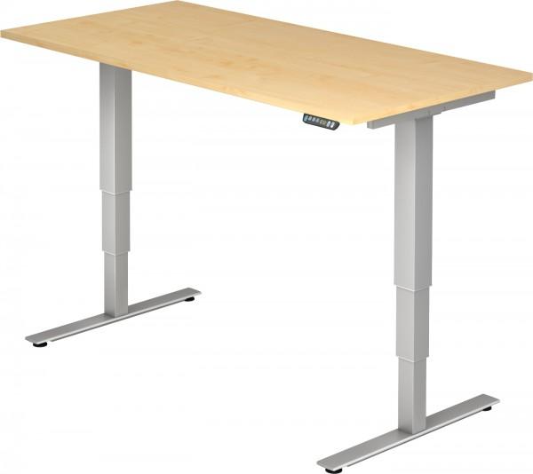 Schreibtisch XDSM16, 160 cm, elektrisch höhenverstellbar, T Fuß-Gestell silber