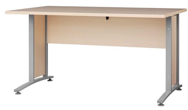 Schreibtischplatte 150 cm - Rechteckplatte mit Frontpaneel, Ahorn (hell)
