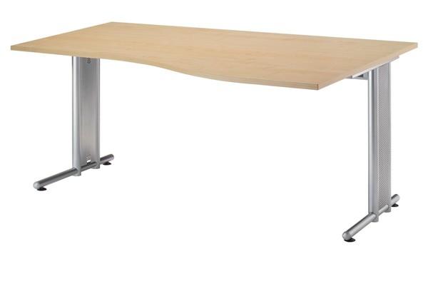 PC-Schreibtisch Freiform rechts 180 cm, C-Fuß Gestell in Silber