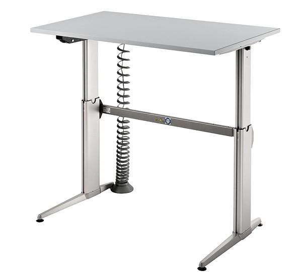 Schreibtisch gerade 120 cm, elektrisch höhenverstellbar, Designer-Tischfuß in Aluminium