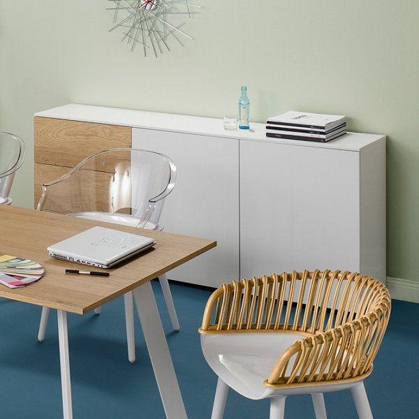 Sideboard Macy, 3 Schubladen - 2 Türen, weiß - Eiche, Reinhard