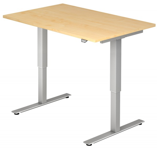 Schreibtisch XMST12, 120 cm, elektrisch höhenverstellbar, T Fuß-Gestell silber