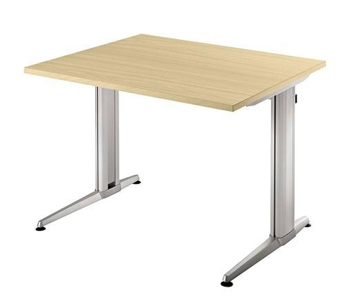 Schreibtisch gerade 80 cm, Designer-Tischfuß in Aluminium