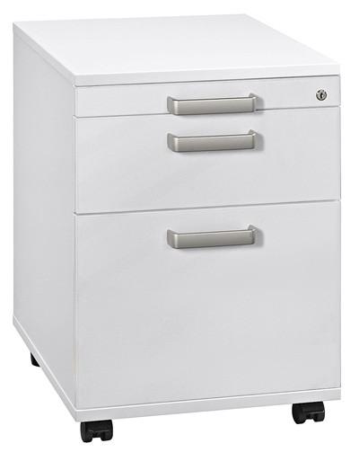 Rollcontainer: Schreibtischcontainer Solid mit Hängeregistratur, Dekor Weiß
