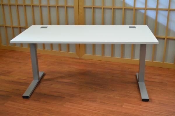 Schreibtisch - 160 cm - lichtgrau - C-Fuß - Heyne