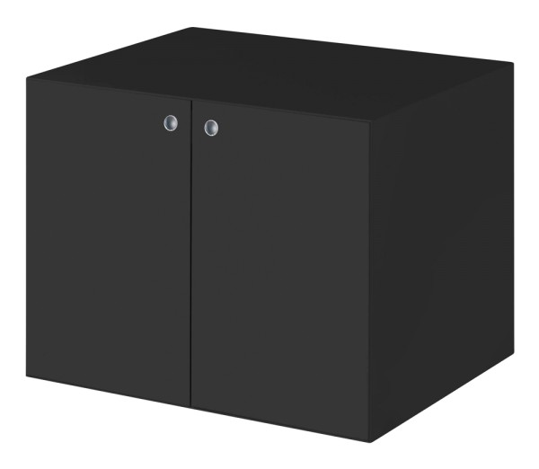 Beistellschrank mit Türen, 1 Fachboden, schwarz