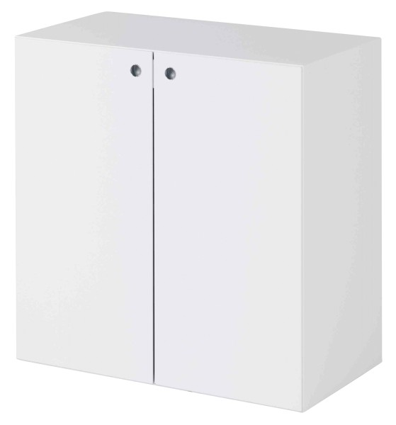 Schrank mit Türen, niedrig - 1 Fachboden, weiß