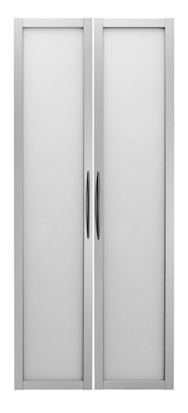 Schrankwand-System Basic: Glastüren für Regal 5 OH, Rahmen Silber