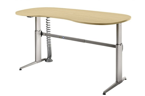 Schreibtisch Nierenform 200 cm, elektrisch höhenverstellbar, Designer-Tischfuß in Aluminium