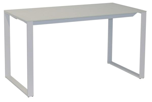 Schreibtisch 160 cm - Rechteckplatte mit Kufen, Glasplatte weiß/weiß