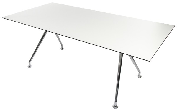 W-Table - 220 cm - High-Tech Schichtstoff - Gestell poliert
