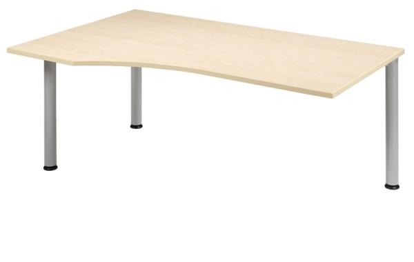 Anbau-Schreibtisch Freiform links 180 cm, 3 Füße, rechts verkettbar, stufenlos höhenverstellbar