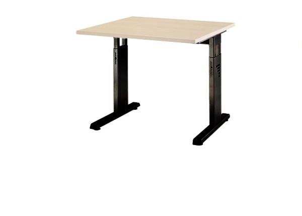 Schreibtisch gerade 80 cm, C-Fuß Gestell in Schwarz
