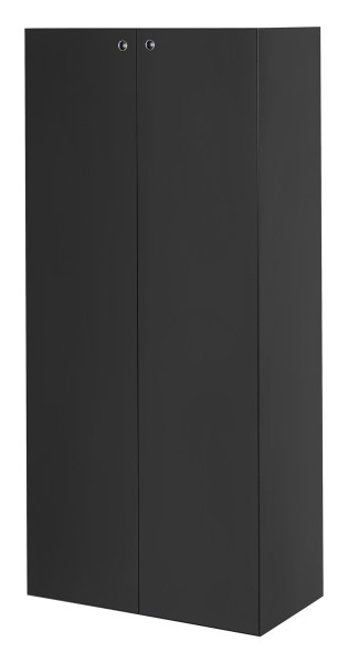Schrank mit Türen, hoch - 3 Fachböden, schwarz