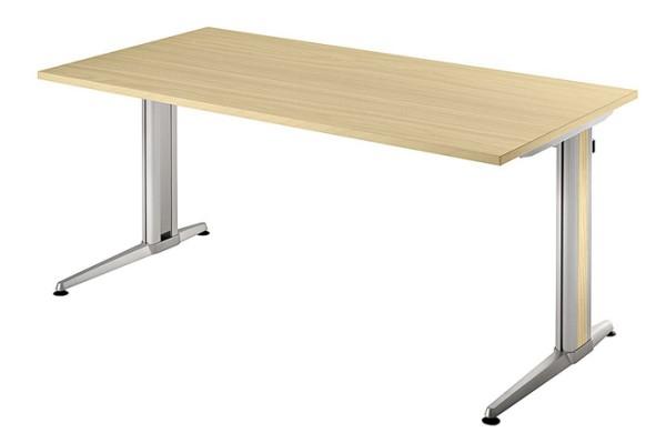Schreibtisch gerade 160 cm, Designer-Tischfuß in Aluminium