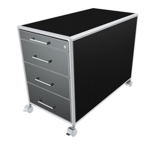 Rollcontainer - 1 Materialfach + 3 Schubkästen - Bosse Modul Space - schwarz
