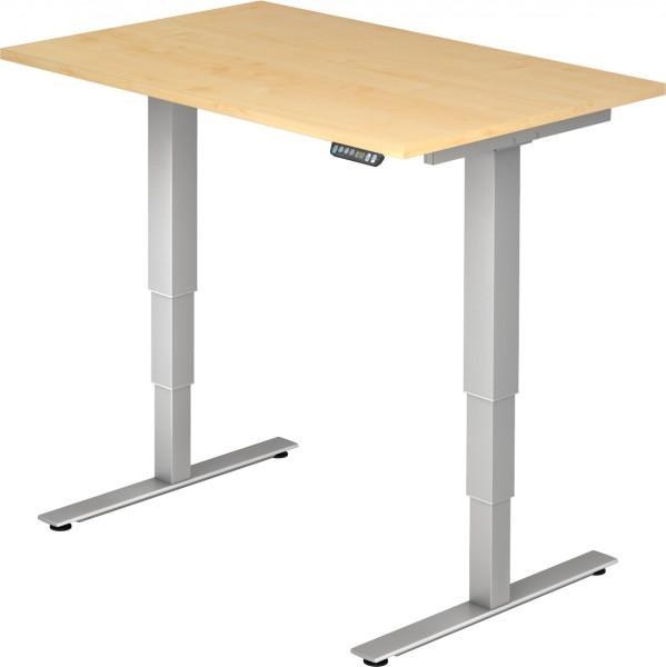 Schreibtisch XDSM12, 120 cm, elektrisch höhenverstellbar, T Fuß-Gestell silber
