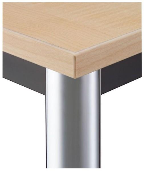 Konferenztisch gerade 120 cm, Tischfüße verchromt