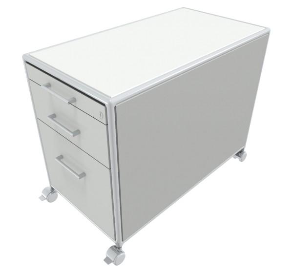 Rollcontainer - 1 Materialfach + 1 Schubkasten + 1 Hängeregister - Bosse Modul Space - weiß