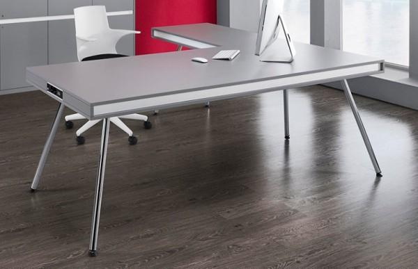 Schreibtisch ON - 210 cm - Mittelgrau - Ultom