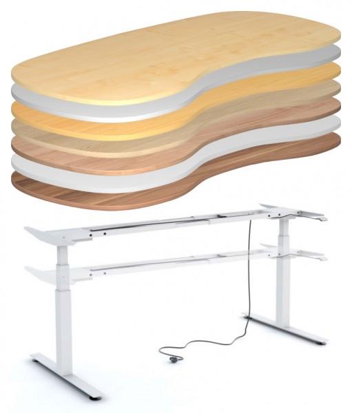Schreibtisch 200 cm - Nierenform, elektrisch höhenverstellbar - Heyne-Ergo-Aktiv