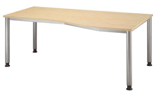 PC-Schreibtisch Freiform rechts 180 cm, Tischfüße in Graualuminium