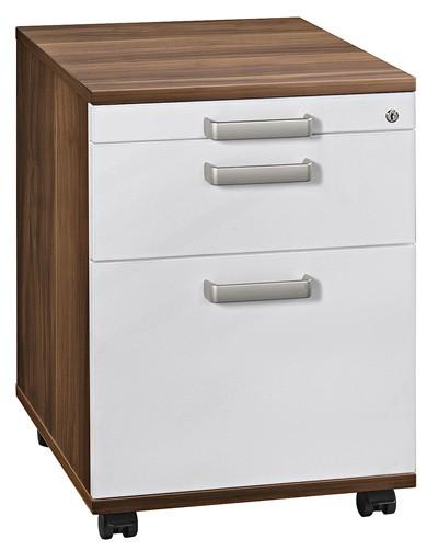 Rollcontainer: Schreibtischcontainer Solid mit Hängeregistratur, Dekor Korpus Zwetschge, Front Weiß