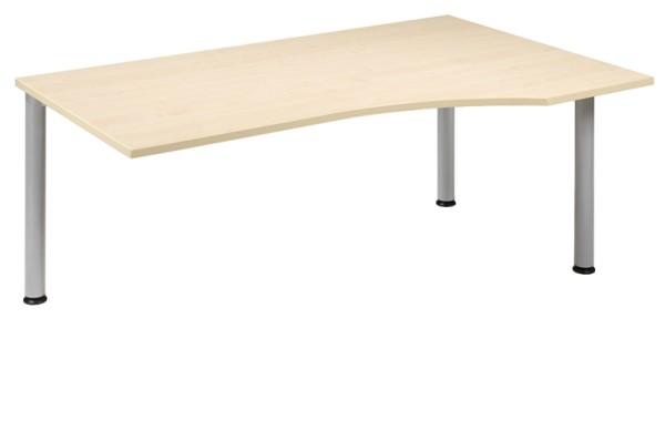 Anbau-Schreibtisch Freiform rechts 180 cm, 3 Füße, links verkettbar, stufenlos höhenverstellbar