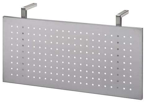 Sichtblende in Silber für Schreibtisch gerade 80 cm