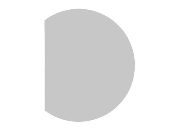 Ansatztisch Halbkreis 80 cm mit Stützfuß in Graualuminium, Dekor Grau