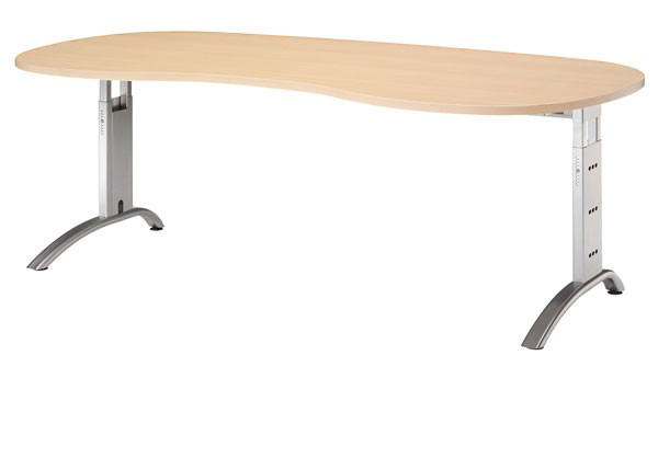 Schreibtisch Nierenform 200 cm, C-Fuß Gestell in Silber