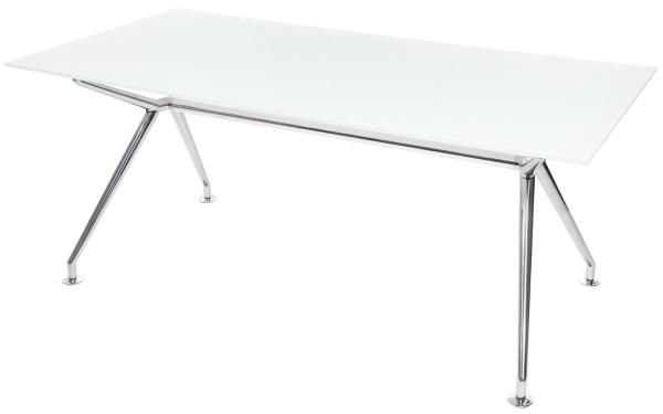W-Table - 220 cm - Glas weiß satiniert - Gestell poliert