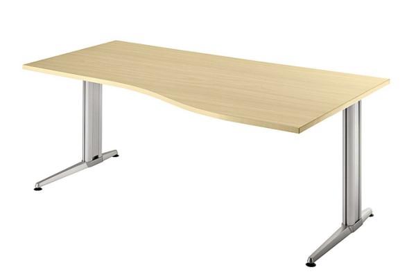 PC-Schreibtisch Freiform rechts 180 cm, Designer-Tischfuß in Aluminium